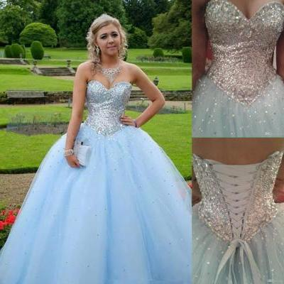 Light Blue Prom Dress,Ball Gown Prom Dress,Princess Prom Gown,Beaded Prom Dresses,Sexy Evening Gowns,New Fashion Evening Gown,Sexy Graduation Dress For Teens