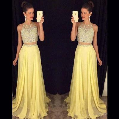Yellow Prom Dresses,2 Piece Prom Gown,Two Piece Prom Dresses,Satin Prom Dresses,New Style Prom Gown,Prom Dress,Prom Gowns