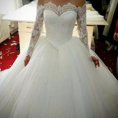 Beautiful Wedding Dress,Lace Wedding Dress,Ball Gown wedding dresses,White Wedding Dress,Wedding Gowns,Custom Made Wedding Dress,Long Sleeves Wedding Dress,Beaded Wedding Dress