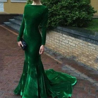 Elegant Green Prom Dress,Long Sleeve Evening Dresses, Velvet Emerald Green Prom Gown, Mermaid Custom made Party Dress Free Shipping vestidos