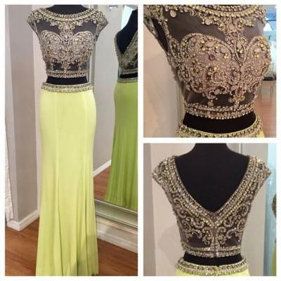 Beaded Prom Dresses,Crystals Prom Dress,Yellow Prom Gown,2 Pieces Prom Gowns,Elegant Evening Dress,Cap Sleeves Evening Gowns,2 Piece Evening Gowns,Sparkly Prom Dress,Sparkle Prom Gown
