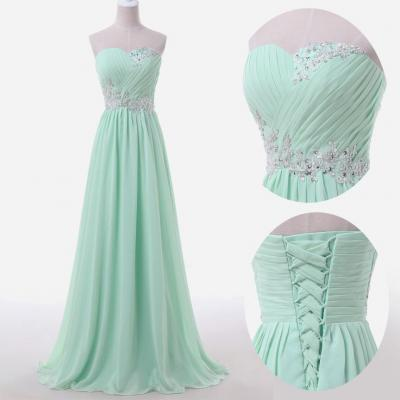 Mint Green Prom Dresses,Sweetheart Evening Gowns,Modest Formal Dresses,Beaded Prom Dresses,Fashion Evening Gown,Corset Evening Dress