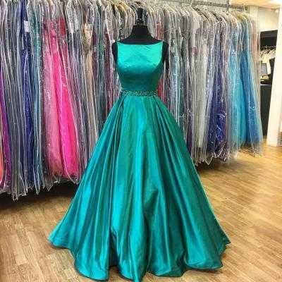 A-Line Beadings Prom Dress,Green Sleeveless Prom Dresses,Stunning Prom Dress