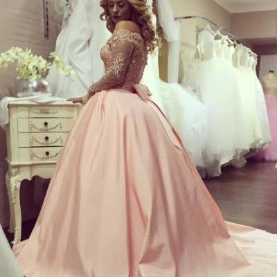 Ball Gown Long Sleeves Prom Dress, Evening Gown ,Bowknot Gold-Lace Prom Dress,Off-the-Shoulder Prom Dresses