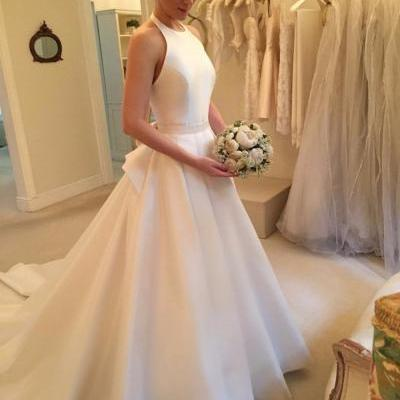 Modern Wedding Dress,Halter Wedding Dresses, Satin Bridal Dresses