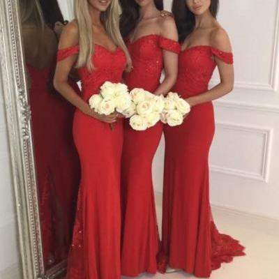 Red Jersey Lace Bridesmaid Dress,Off The Shoulder Sweetheart Bridesmaid Dresses,Cap Sleeves Mermaid Sweep Train Bridesmaid Dresses, Red Prom Dresses