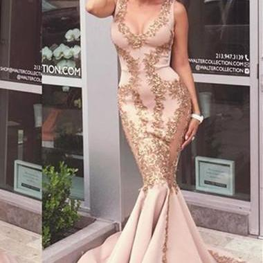 Gold Appliques Prom Dress,Sexy Mermaid Long Prom Dresses, Sexy Scoop Neck Tank Top Satin Party Dress Plus Size, Sweep Train Cheap Champagne Party Dress,Vestidos De Festa, Customize Satin Pageant Celebrity Dresses