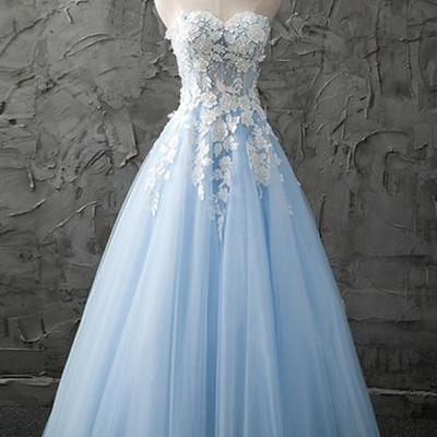 Sweetheart blue tulle prom dress, long customize evening dress with appliques,