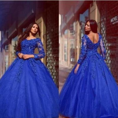 Glamorous vestidos Prom Dress,Royal Blue Ball Gown Quinceanera Dresses,Flowers Appliqued Floor Length Prom Dresses,Lace Up Long Sleeves Prom Evening Gowns