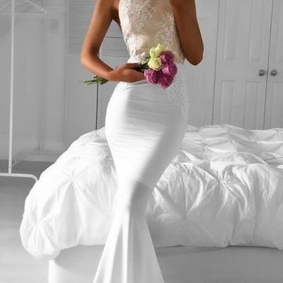 Mermaid Prom Dress,White Prom Dresses,Halte Prom Dresses,Elegant Evening Dresses,Backless Prom Dresses,Sleeveless Prom Dresses,Floor Length Prom Dresses,Simple Prom Dress