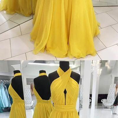 yellow prom dress, long evening dress,prom dresses