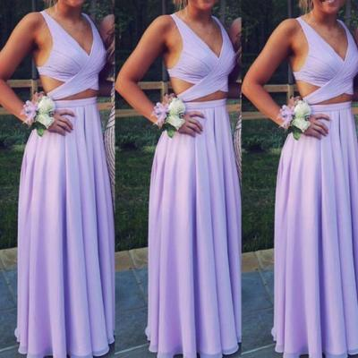 Beautiful Lavender Prom Dress,Two Piece Chiffon Prom Dresses, Long Two Piece Party Dresses, Evening Dresses