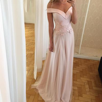 Custom Made Light Pink Off-Shoulder Neckline Floor Length Prom Dress with Lace Applique