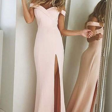 Pink Mermaid Prom Dresses,Off-the-Shoulder Evening Dresses,Split-Side Pink Party Dresses, Stretch Satin Prom Dress