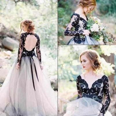 Black Long Sleeves Lace A Line Wedding Dresses Off The Shoulder Tulle Backless Court Train Wedding Bridal Gowns