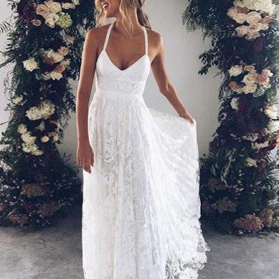 White v neck lace long prom dress, white evening dress ,Floor Length Evening Dresses,Zipper Women Party Gowns,Prom Dresses,Evening Gowns