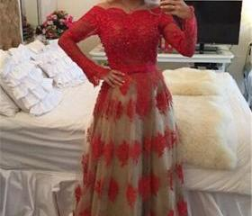 Red lace prom dress ..