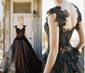 Black Tulle Lace Wed..