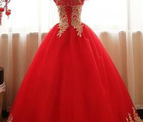 Red Tulle Ball Gown ..