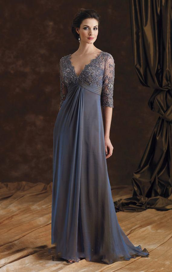 04276f9bbec Sexy V Neck Grey Lace Long Mother Of The Bride Dresses