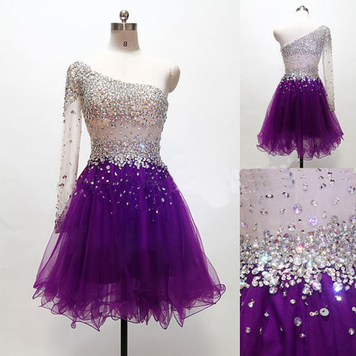 Grape Homecoming Dressone Shoulder Homecoming Dressestulle