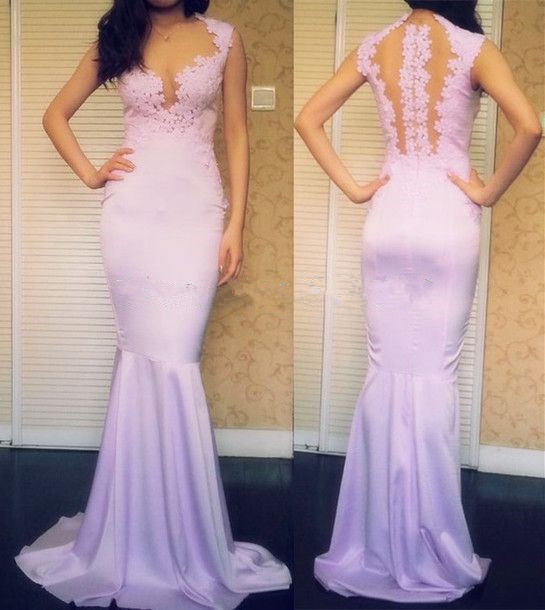 Lilac Prom Dresses,Vintage Prom Gown,Mermaid Evening Gowns,Lace Party Dress,Chiffon Evening Dress