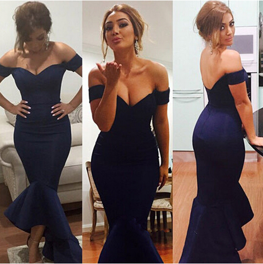 Off The Shoulder Satin Mermaid Formal Gown With Asymmetrical Skirt Sheath Evening Dresses