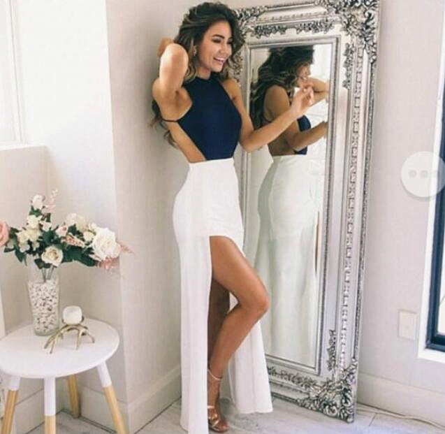 Navy Blue Halter Prom Dress,Long Chiffon Prom Dress with split,Fitted Backless Evening Dress,New Arrival Simple Party Dress