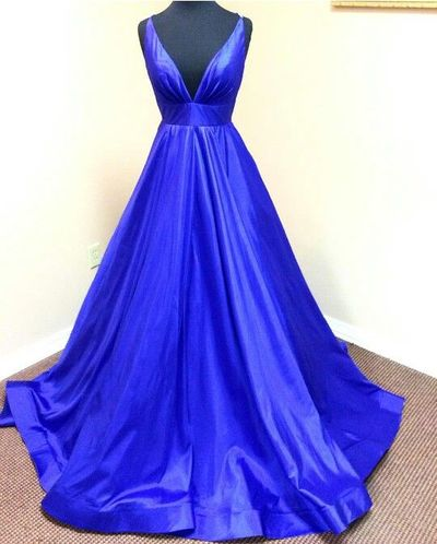 Charming Prom Dress,Satin Prom Dress,Noble Prom Dress,V-Neck Evening Dress