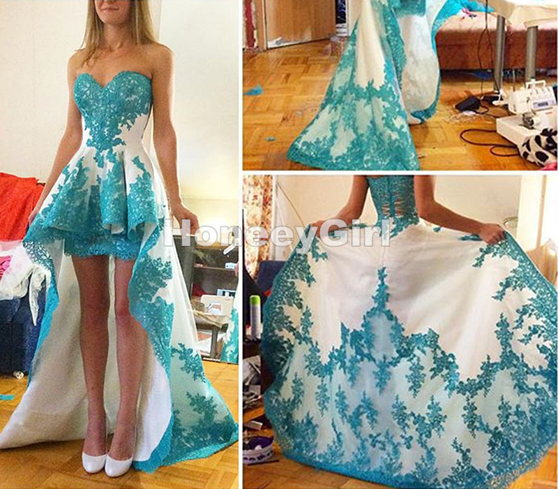 Blue Lace Formal Dress,High Low Prom Dress,Special occasion Dress,Lace Prom Dress,Pretty Prom Dress,Cheap Prom Dress,Custom Prom Dress,Handmade Prom Dress,Prom Dress,Dress for Prom