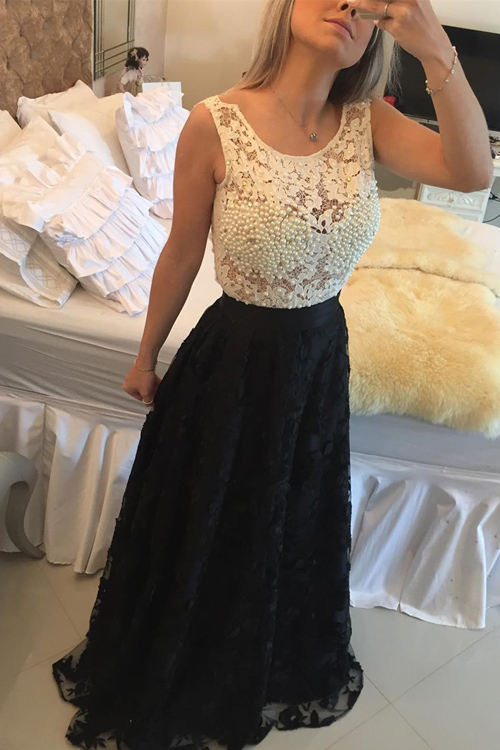 Lace Crew Neck Sleeveless Floor Length A-Line Formal Dress Featuring Pearl Embellishments and Illusion Open Back, Prom Dress