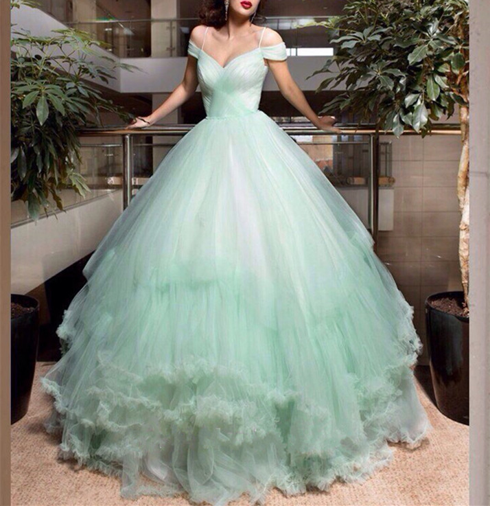 Wedding Dresses,Mint Green Wedding Dress, Princess Wedding Dress, Off shoulder Wedding Dress,Elegant Wedding Dress, Spring/Summer Wedding Dress,Color Wedding Dress