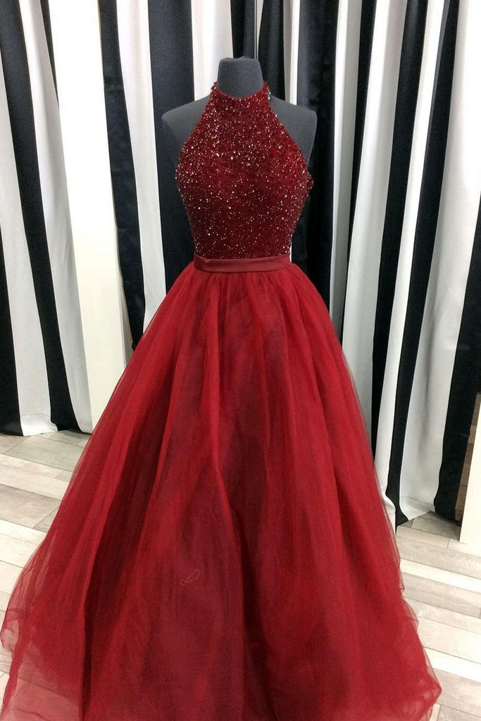 Red Sequin Halter Prom Dress