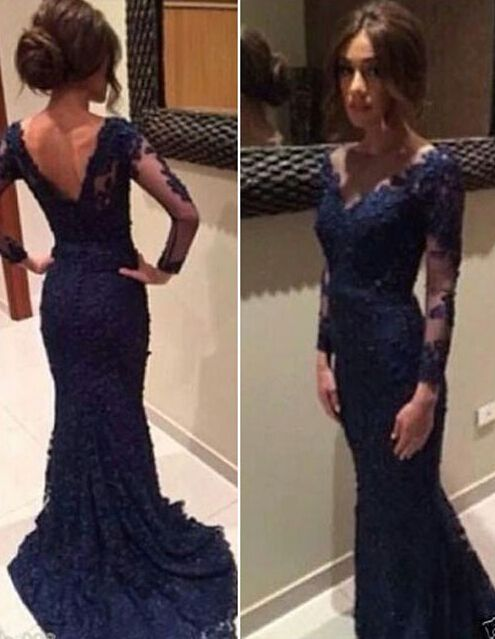 Lace Prom Dress,Long Sleeve Prom Dress,Long Evening Dress,Evening Gown