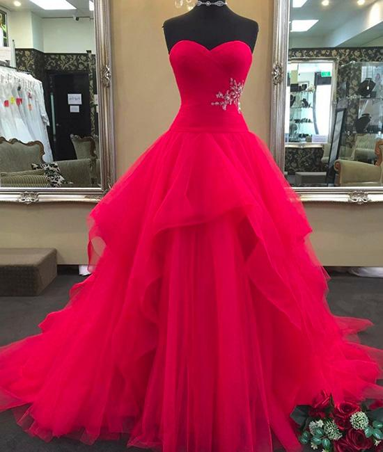 Red Sweetheart Neck Tulle Long Prom Dress, Red Evening Dress