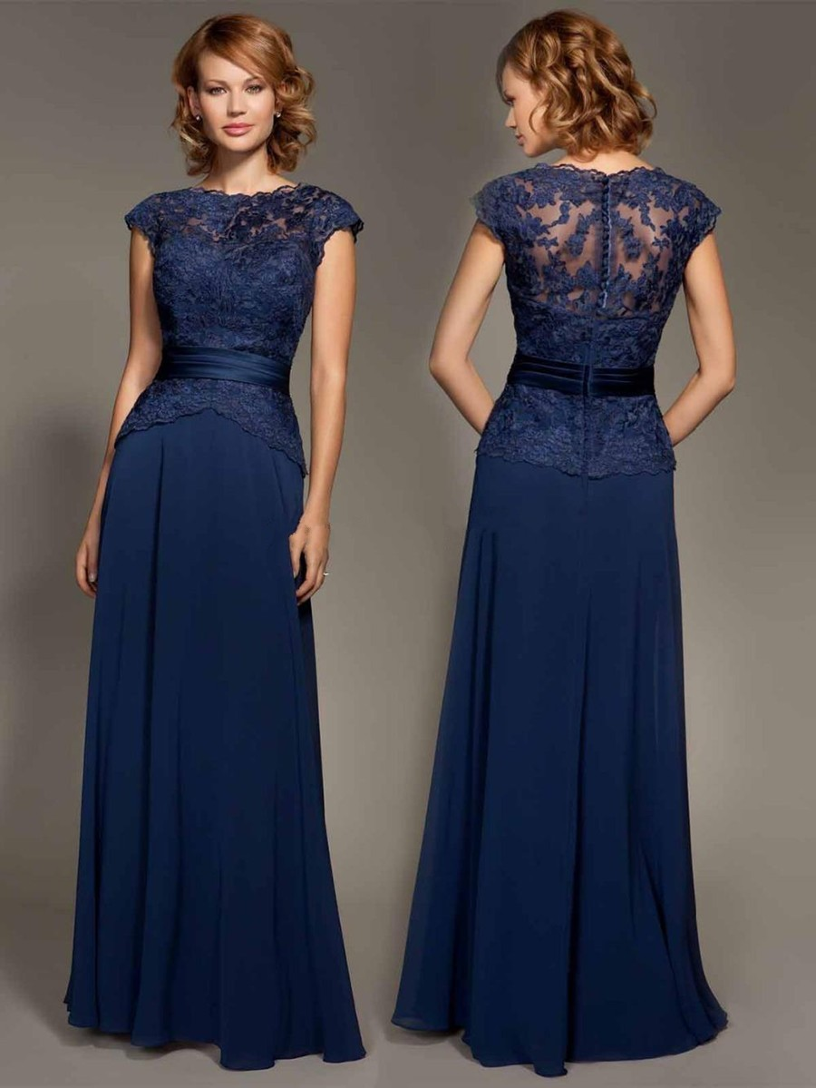 ae0faf36428d7 Cheap Dark Navy Blue Lace Cap Sleeve Chiffon Floor-Length Evenig Gown  Mother Of The