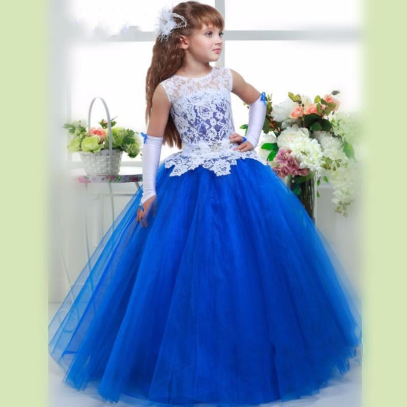 Blue A-line Lace Bodice Top Sheer Tulle Skirt Flower Girl Dresses Infant Tutu Dress Toddler Ball Gown Party Girls First Communion Dresses