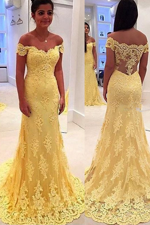 Mermaid Prom Dresses,Off Shoulder Prom Dresses,Yellow Lace Prom ...