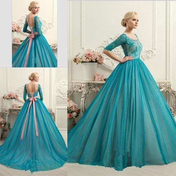 Half Sleeves Ball Gown Quinceanera Dresses New Arrival Lace Tulle ...