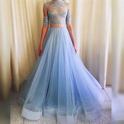 8537f44b25 Pretty Light Blue Lace Top and Tulle Skirt Party Dresses, Two Piece Prom  Dresses,