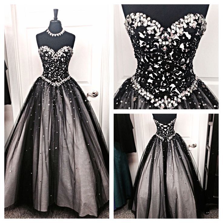 Custom Made Black Crystal Beaded Sweetheart Neckline Ball Gown Prom