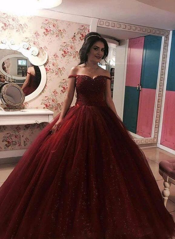 101c60e5627e Burgundy Ball Gown Prom Dress,Tulle Prom Dresses,Sleeveless Prom Dress,Sexy  Tulle Ball Gown Evening Dress,Long Prom Dress,Formal Dress,Burgundy  Quinceanera ...