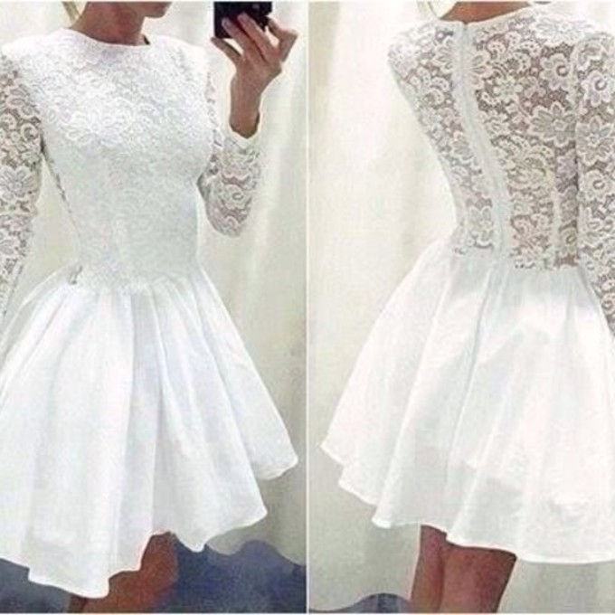 White Prom Dress,Long Sleeve Prom Dress,Lace Prom Dress,Fashion ...