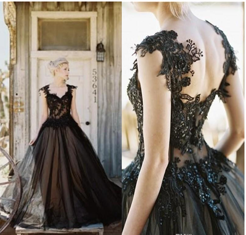 Black Tulle Lace Wedding Dress,Applique A-line Wedding Dresses, Cheap Gothic Beaded Backless Wedding Dress, Long Bridal Gowns Custom