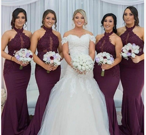 Hot Purple Grape Bridesmaid Dresses,Mermaid Bridesmaid Dress, Vintage  Arabic Halter Neck Lace Bridesmaid Dress,Top Wedding Guest Maid Of Honor  Gown ...