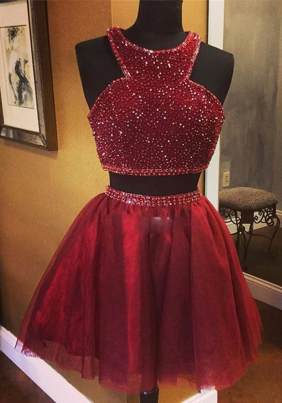 homecoming dresses,short burgundy homecoming dress ,beading ,halter homecoming dresses,two pieces