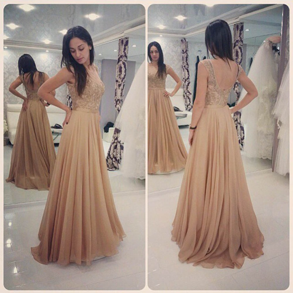 8ee7bc0e6ca3 Glamorous Long Champagne Lace Prom Dresses Party Evening Gown Beaded  Chiffon Appliques Open Back Prom Dress