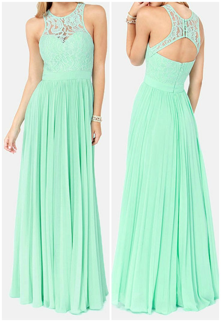 Mint Color Evening Dress