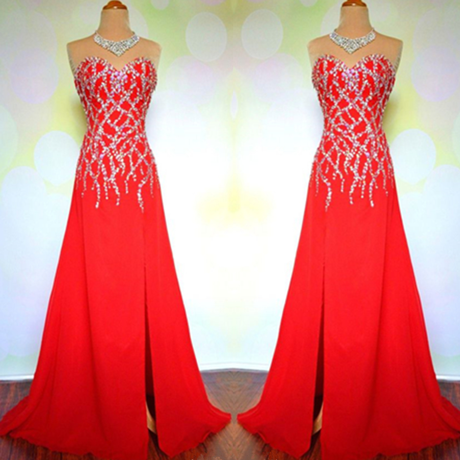 Red Strapless Sweetheart Beaded A-line Long Prom Dress, Evening Dress Featuring Side Slit