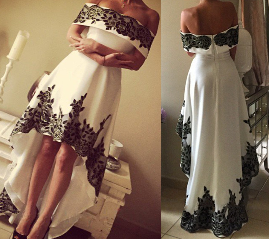 White Prom Dresses,High Low Evening Gowns,Lace Sleeveless Prom Gown ...